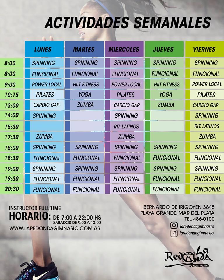 Actividades y horarios la redonda gimnasio mar del plata for Horario gimnasio